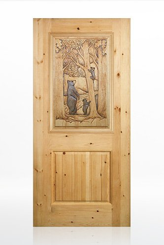 Bear with Cub Design Wood Door