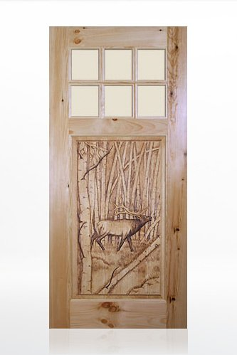 Bull-Elk Design Wood Door