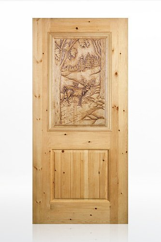 TVM 1575 Bull Elk Design Wood Door