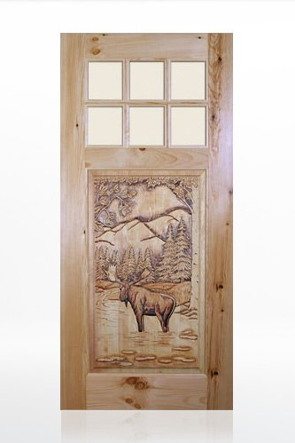 TVM 1560 Bull Mose Design Wood Door