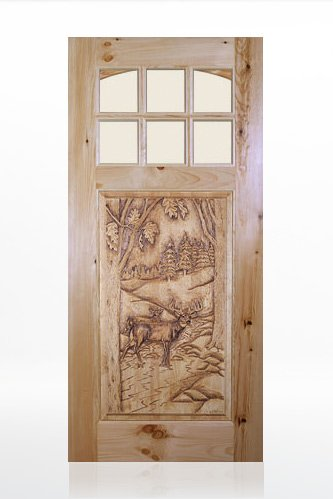 Deer Design Wood Door
