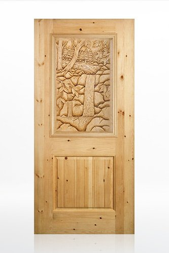 Pine-scape-with-Waterfall - Wood Door Design