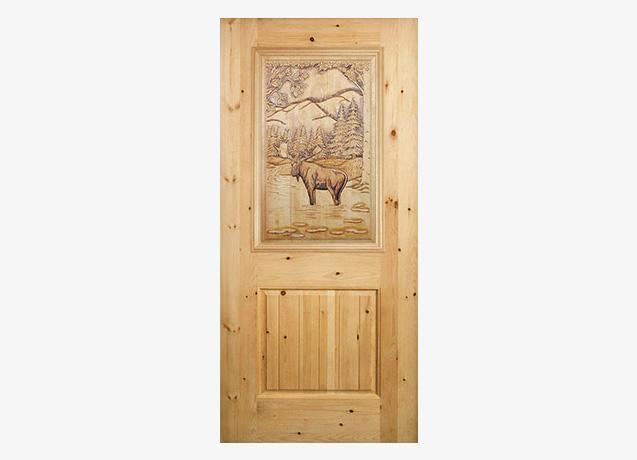 Bull Moose Carved Wood Door