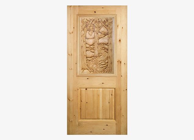 Aspen-Scape Wood Carved Door