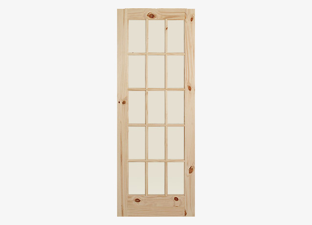 15 Lite French Wood Door 1627 Knotty Pine Glass Doors