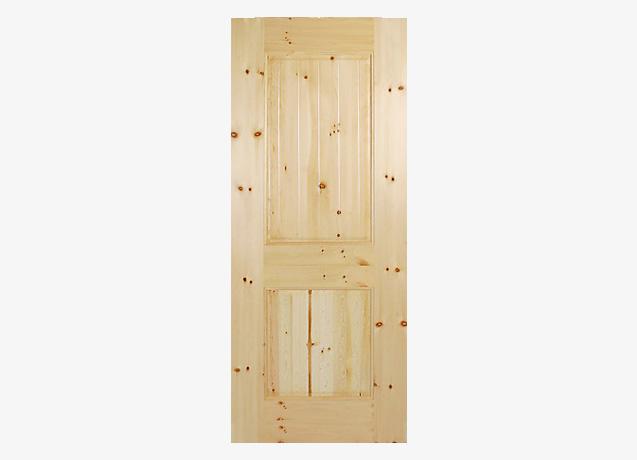 2 Panel V-Groove Wood Panel Door