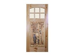 Bear with Cub Design Wood Door