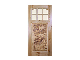 Deer Design Wood Door
