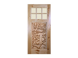 Pine-scape-with-Waterfall - Wood Door Design