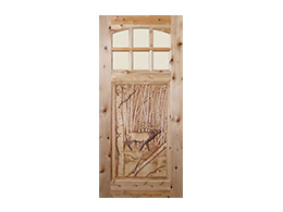 Bull-Elk Design Wood Door