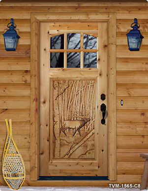 Hand Carved Wood Exterior Front Doors For Rustic