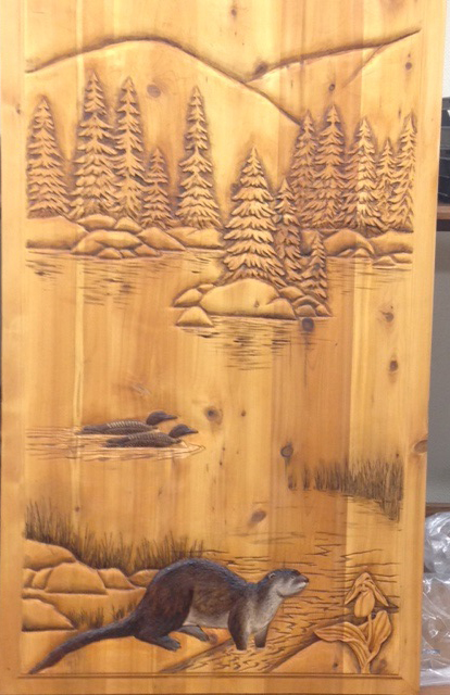 Hand Carved Doors - Otters and Loons