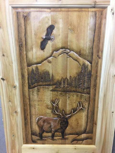 Door Carved with Eagle and Moose
